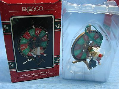 1993 Wheel Merry Wishes Enesco Treasury Christmas Ornament
