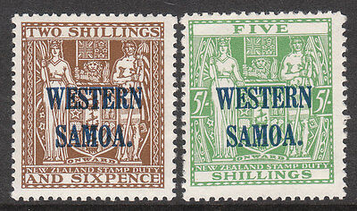 WESTERN SAMOA 1935 #189 #190 GV NEW ZEALAND FISCAL OPTED STAMP Cowan Paper