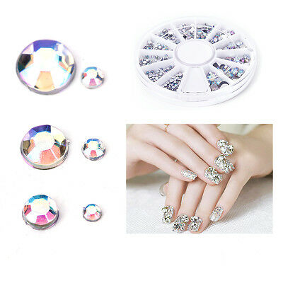 6 taille Strass ongles 3D Bijoux manucure gel tip nail glitter vernis paillette