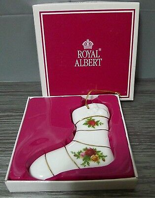 Royal Albert China Christmas Ornament Old Country Roses Stocking in Box 1998