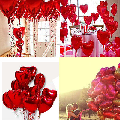 """10X Valentine's Day 18"""" Red Heart Love Foil Helium Balloons Wedding Engagement"""