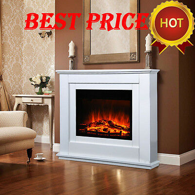 "39"" Electric Fireplace Suite Light Cream MDF Surround Remote Control Heater Set"