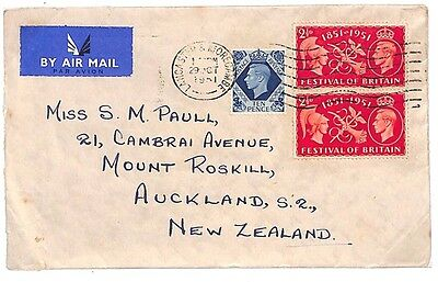 R75 1951 GB KGVI AIRMAIL *Lancaster & Morecambe* UNUSUAL FRANKING New Zealand