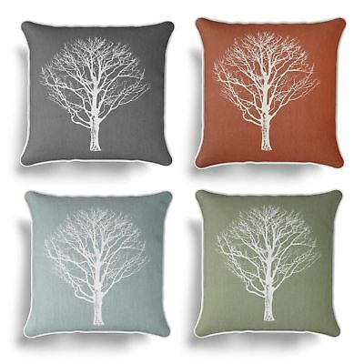 """Woodland Trees Cushion Cover 17"""" X 17"""" Modern Reversible Printed Cover"""