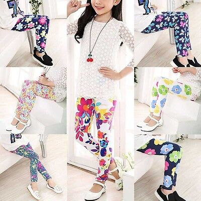 Toddlers Kids Girl Baby Leggings Flower Floral Printed Pants Trousers 1-12Y