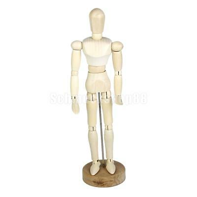 "Artists Model Articulated Wood Human Body 7.87"" Jointed Stand Movable Finger"