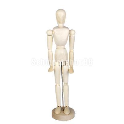 "Artists Model Articulated Wood Human Body 11.81"" Jointed Stand Movable Limbs"