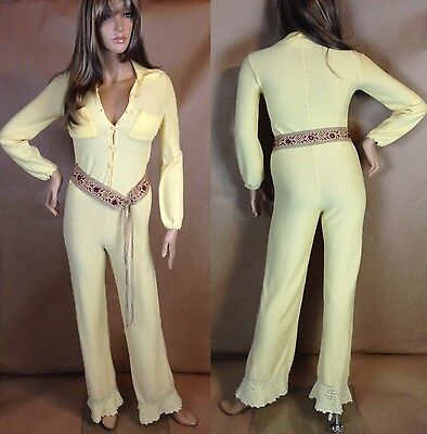 Women's Vintage 60's Sexy Crochet Knit Long Sleeve Button Up Jumpsuit Med.