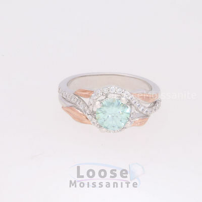 Unique 0.85 ct Moissanite Engagement wedding Ring 925 Sterling Silver LM