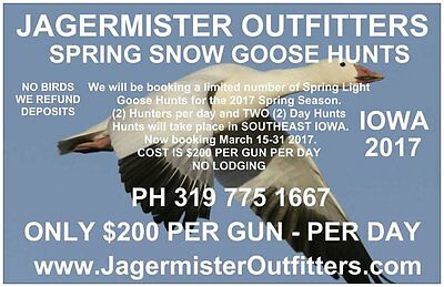 Iowa Spring Snow Goose Hunt-Fully Guided-Jagermister Outfitters-2 Day Hunt