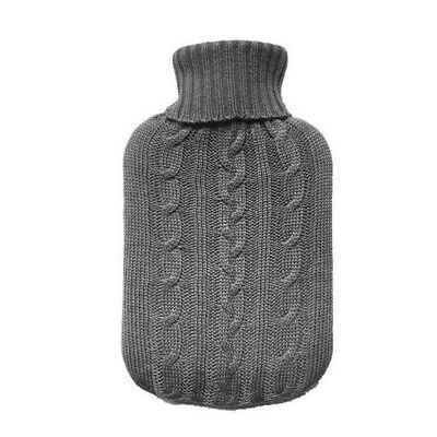TRIXES Grey Knitted Hot Water Bottle Cover Insulator