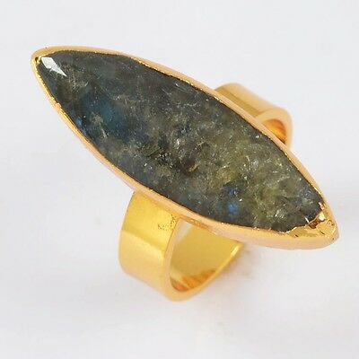 Size 7 Marquise Gold Plated Natural Labradorite Ring T020228