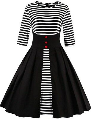UK Women's Striped Vintage Style 1950s 60s Retro Evening Party Swing Tea Dress