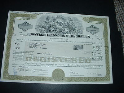 Vintage Chrysler Cars  For 1,000 Shares Certificate Very Beautiful