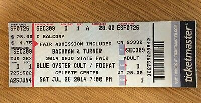 Concert Ticket For bachman turner overdrive - Blue Oyster Cult - Foghat Used