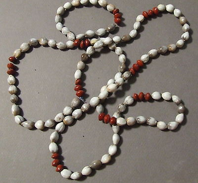 Vintage African Tribal Market Seed Beads Necklace Ethnic Gray Red Boho