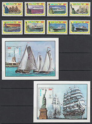 Bhutan Sc 574-583 MNH. 1986 Statue of Liberty Centenary, cplt set, VF. Ships