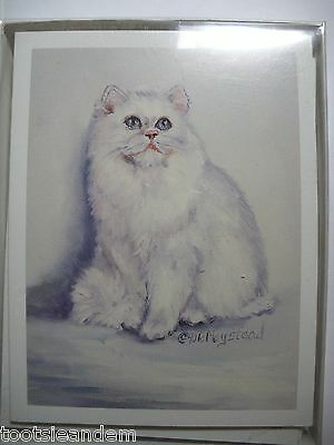 White Longhair Cat Notecards Best Friends by Ruth Maystead
