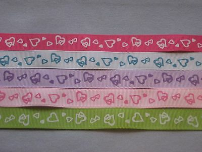"""5 - 5/8"""" Grosgrain Ribbons - Double Heart Prints - 12 Inches @"""