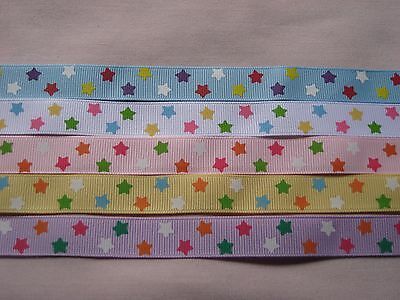 """5 - 5/8"""" Grosgrain  Ribbons - Star Prints - 12 Inches @"""
