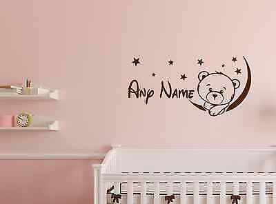 Personalised Teddy Bear The Moon Stars Baby Any Name Vinyl Wall Sticker Decal