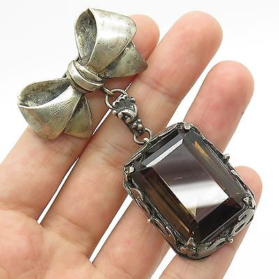 Vtg Solid Silver Large Real Smoky Topaz Gemstone Bow Handmade Pin Brooch
