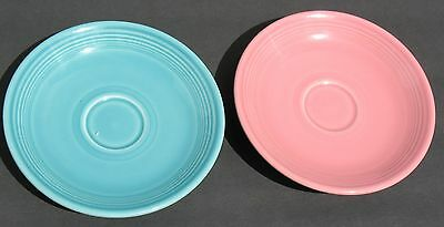 Fiestaware Homer Laughlin Two Saucers Pink Turquoise Vintage