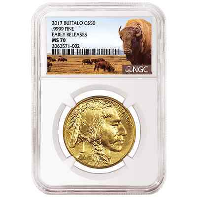 2017 $50 American Gold Buffalo 1oz. NGC MS70 Buffalo ER Label