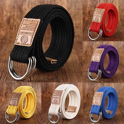 Canvas Fabric Double D-Ring Web Belt Military Buckle Metal Waistband Womens Mens