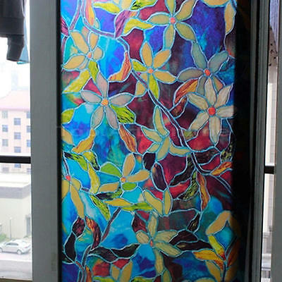 Orchid Flowers Static Cling Stained Glass Window Film For Home Privacy DIY