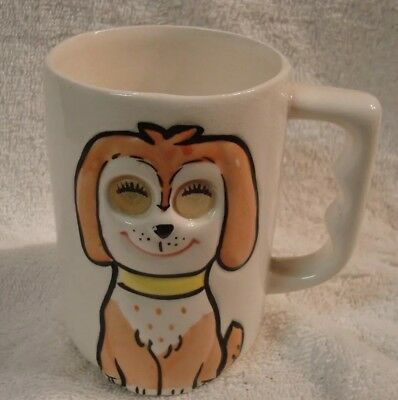 Vintage Mug Puppy Dog Opens Closes Eyes Made in Japan