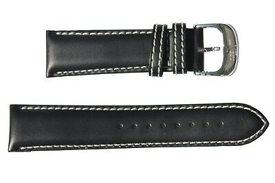 Xezo Black Leather Band for Air Commando Watches. Omega Compatible (22mm lugs)