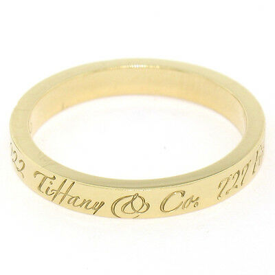 100% Authentic Tiffany & Co. Notes 18K Yellow Gold 2.75mm Band Ring Size 8.5