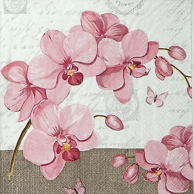 4 Single Table Party Paper Napkins for Decoupage Decopatch Craft Orchids & Love