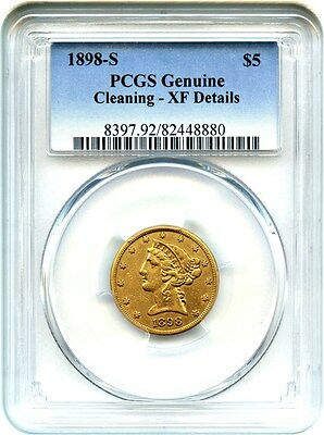 1898-S $5 PCGS XF Details (Cleaning) - Liberty Half Eagle - Gold Coin