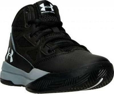 Boy's Youth UNDER ARMOUR JET Black/Gray Athletic Basketball Casual Shoes NEW