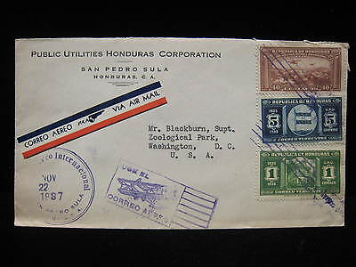 1937 HONDURAS to USA AIR MAIL Biplane Aviation Cancel POSTMARK Commerical COVER
