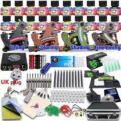 Dragonhawk Professional Tattoo Kit 4 Kinds Of Machines 20 Immortal Color Inks CE