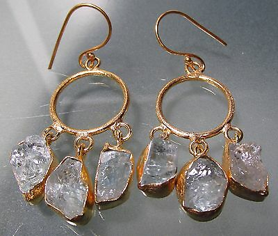 Gold plated brass 12gr rough aquamarine stones earrings.