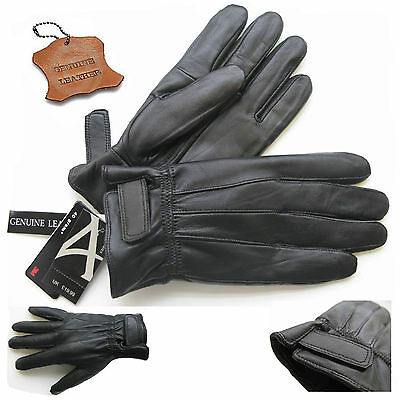 Men Motorcycle Motorbike Scooter Black Winter Leather Thermal Gloves