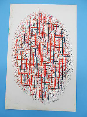 Eric L.D. MILLER. Original Signed Color Abstract Print c. 1950's #1