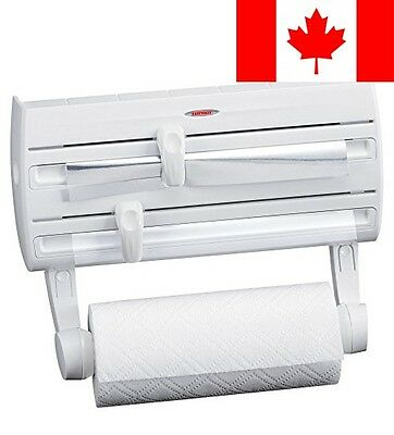 Leifheit Wall-Mount Paper Towel Holder with Plastic Wrap, Foil Dispenser and ...