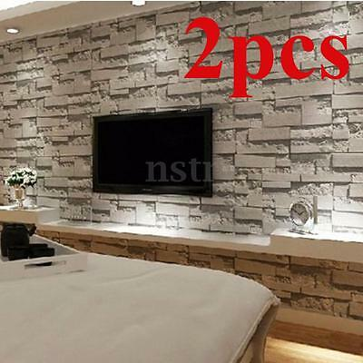 2x 10M 3D Stone Brick Wall Paper Wallpaper Modern Rustic Slate Mural Roll Decal