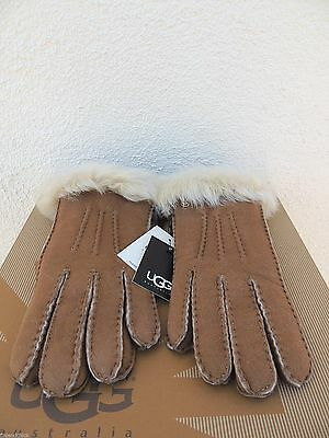 Ugg Chestnut/ Natural Toscana Suede Shearling Handsewn Winter Gloves ~ S ~ Nwt