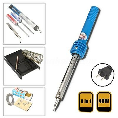 9in1 40W Electric Soldering Iron Solder Tool Kit Set Stand Tweezer Welding Stick