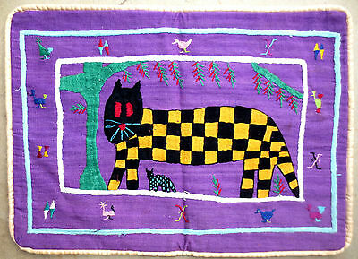 Pillow Sham - Hand Loomed Wovem Embroidered Guatemalan Fabric - Cat