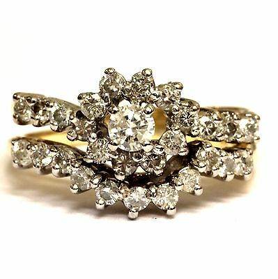 14k yellow gold .83ct halo round diamond engagement ring wedding band 5.6g