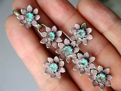 1800's Victorian Saphiret Cross 7 Unfoiled Czech Art Glass Stones W/ Pink Enamel