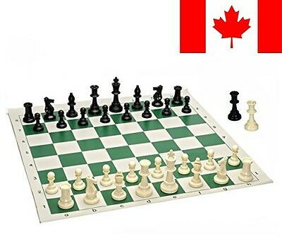 Best Value Tournament Chess Set - 90% Plastic Filled Chess Pieces and Green R...