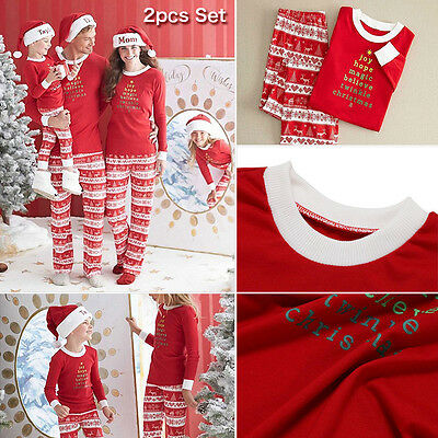 Family Matching Christmas Pajamas Set Women Baby Kids Xmas Sleepwear Nightwear